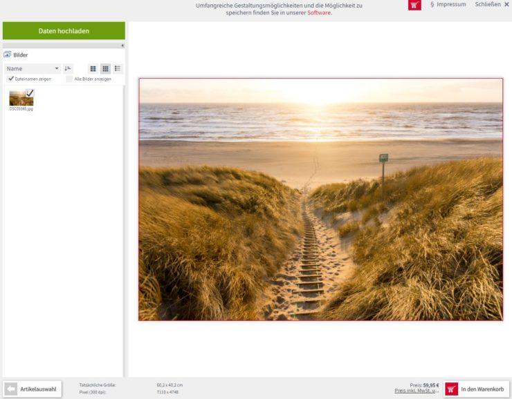 Screenshot des Online-Tools von Saal-Digital