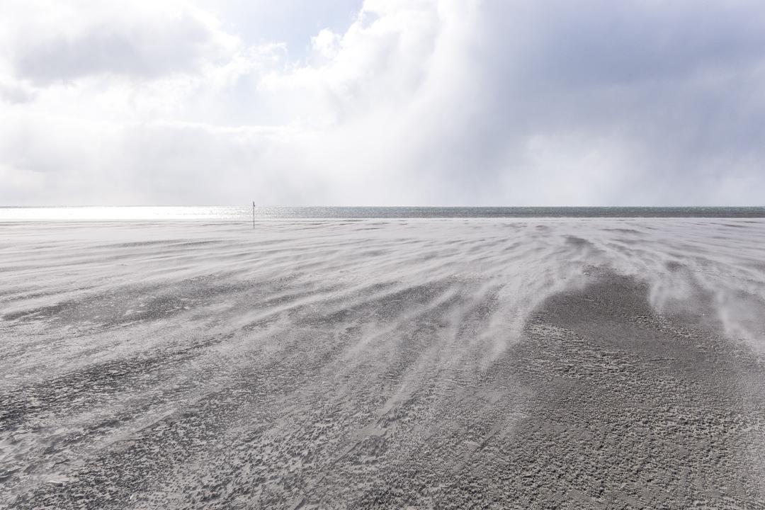 Rindby Strand auf Fanø im März bei Ostwind